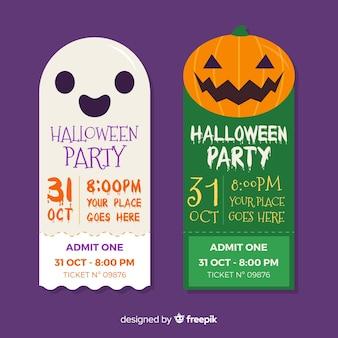 Ghost and pumpkin faces halloween tickets