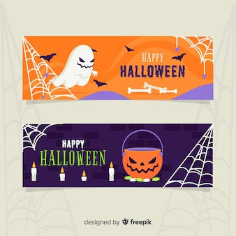 Ghost and pumpkin flat halloween banners