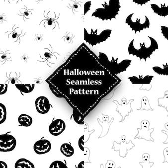 Ghost, pumpkin, spider and bat seamless pattern.