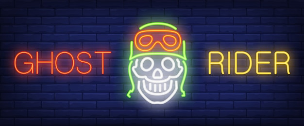 Ghost rider neon text with skull in helmet and goggles