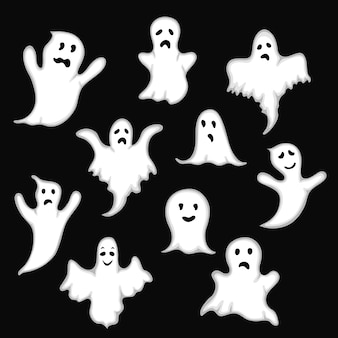 Ghost set on a black background in the style of the cartoon.