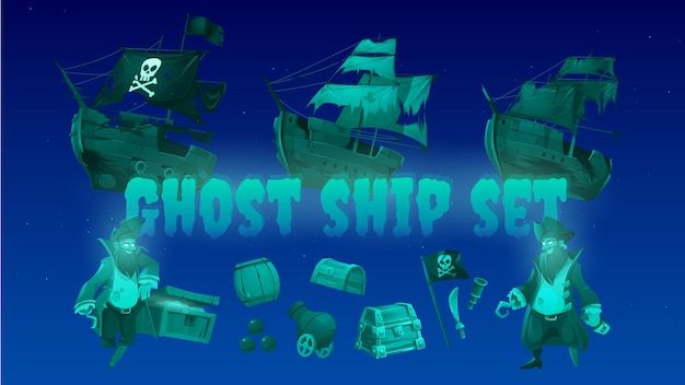 해적 보물 상자와 검은 색 졸리 로저 깃발로 설정된 유령선