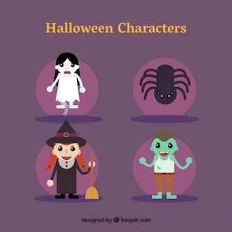 A ghost, a spider, a witch and a zombie