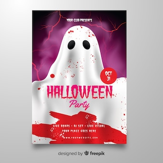 Ghost with blood halloween poster template