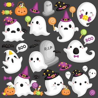 Ghost with halloween accessories