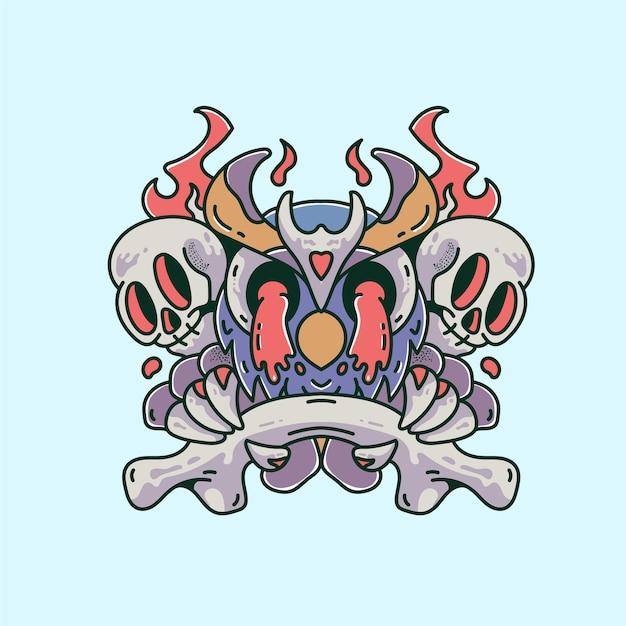 Призрак с черепом грустная иллюстрация старинный ретро-дизайн