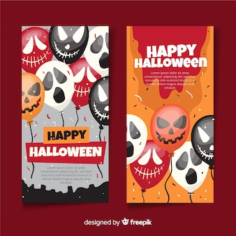 Ghostly balloons flat halloween banners