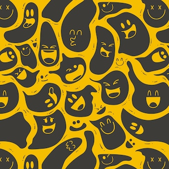Ghostly distorted emoticon pattern template