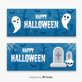 Ghosts and dead flat halloween banners