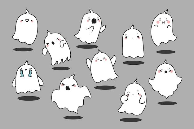 幽霊落書きセット。不気味な生き物の手描きのカラフルなテンプレートパターンのコレクション神秘的なグールポルターガイストキャラクターマスコット怒っているファントム。コミックハロウィーンのシンボルのイラスト。