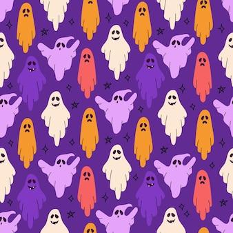 Призраки для хэллоуина вектор бесшовные модели на фиолетовом фоне праздничная печать