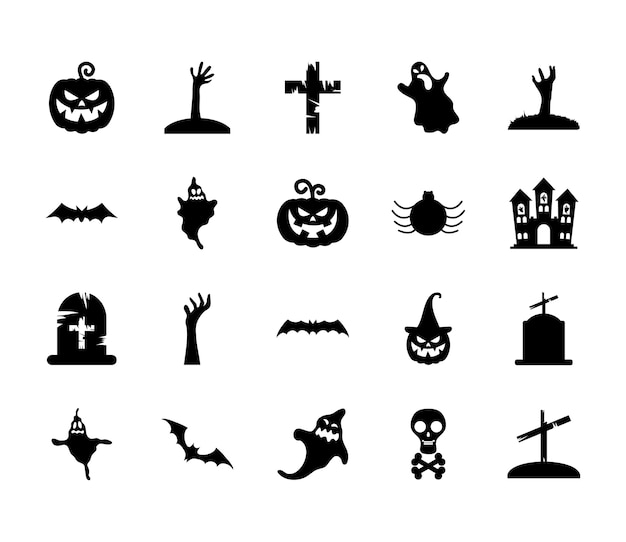Ghosts and halloween icon set over white background, silhouette style