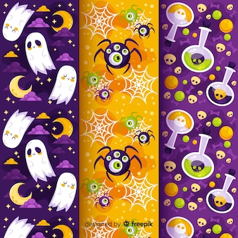 Ghosts and poison flat halloween pattern collection