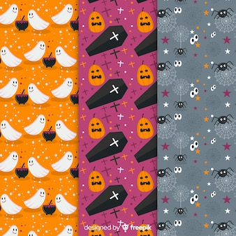 Ghosts and pumpkins flat halloween collection