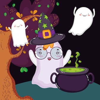 Ghosts spell cauldron trees halloween