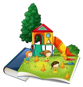 놀이터에서 노는 아이들과 함께 거대한 책