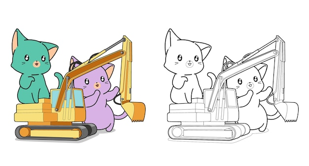 Giant cats with tractor cartoon coloring page