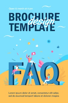 Giant faq and tiny people flyer template