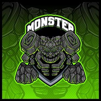 Giant golem rock monster mascot esport logo design illustrations vector template, stone monster logo for team game streamer merch, full color cartoon style