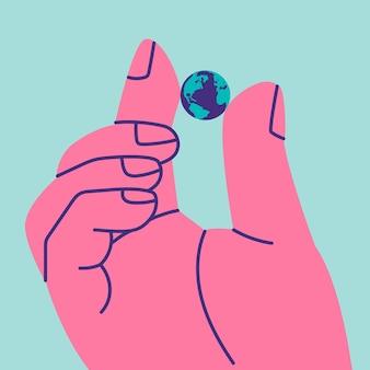 Гигантский человек двумя пальцами держит маленькую планету земля как символ хрупкости мира