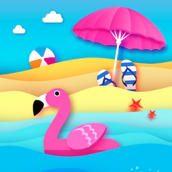Giant inflatable pink flamingo in paper cut style beach parasol  umbrella origami pool float toy on the sunny beach with sand and crystal clear blue sea water beachball flipflop summer holidays