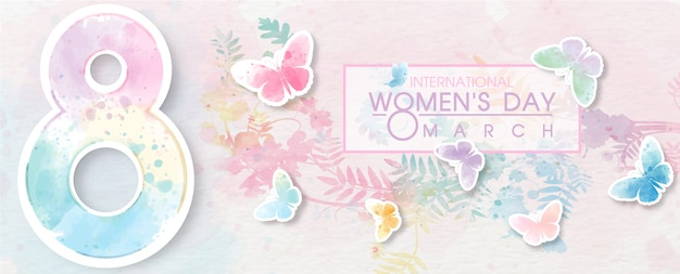 Giant of number 8 with colorful butterfly flying and wording of women's day event on white paper pattern and plant colorful background.