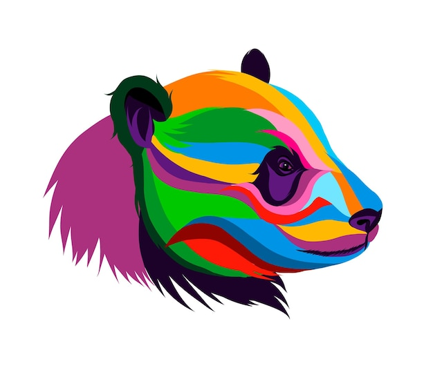 Giant panda head portrait from multicolored paints splash of watercolor colored drawing realistic