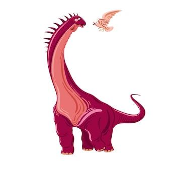 Гигантский фиолетовый динозавр векторные иллюстрации с брахиозавром