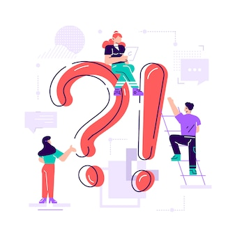 Giant question mark and interrogation point and tiny people. concept of faq, user manual or guide, customer support, search of useful information for problem solving. flat colored  illustration