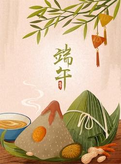 Giant rice dumplings on wooden table, dragon boat festival festival banner
