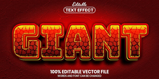 Giant text, font style editable text effect