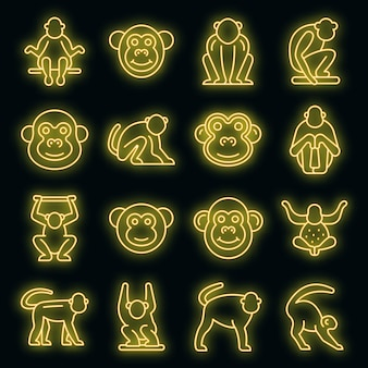 Набор иконок гиббон. наброски набор гиббонов векторных иконок неонового цвета на черном