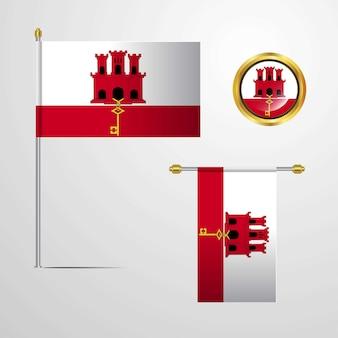 Gibraltar waving flag design with badge vector