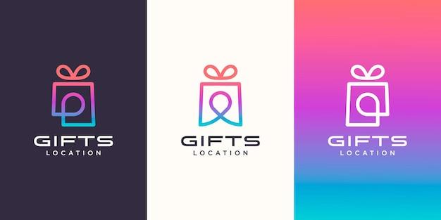 ギフトとピンの場所のロゴの組み合わせ。ユニークな驚きとロゴタイプのデザインテンプレート