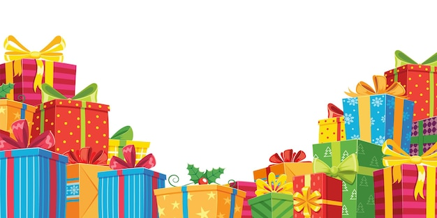 Gift banner with pile boxes to celebration and present holiday, illustration box with colored bow ribbon, greeting birthday vector Premium Vector