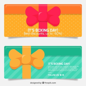 Gift banners with boxing day bow