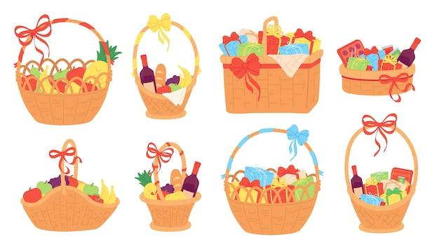 ギフトバスケット。クリスマス、食べ物、果物、チョコレート、つるのボトル用のプレゼントボックスが付いた籐のバスケット。リボンリボンベクトルセットでフラットハンパー。チョコレートとフルーツのイラストギフトプレゼント、ギフト