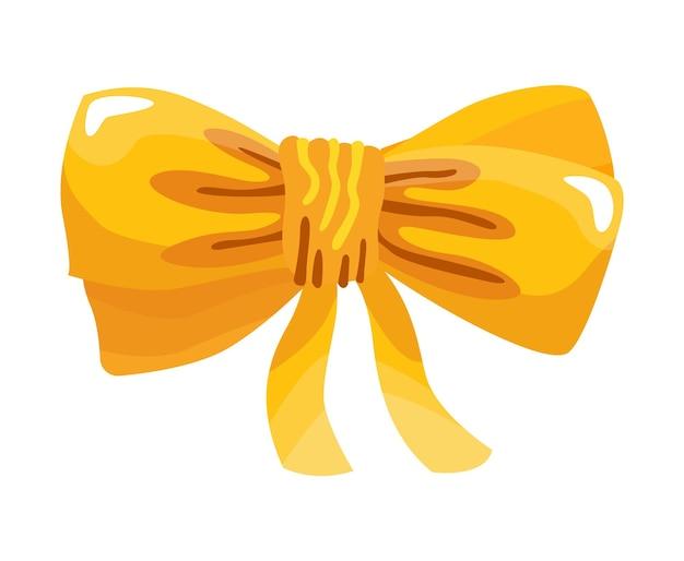 Подарочный лук красочные плоские иллюстрации. желтый узел для настоящего шаблона элемента
