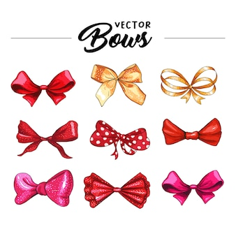 Gift bow hand drawn vector illustrations set