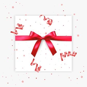 Подарок лук реалистичная иллюстрация белый фон красная лента настоящее украшение коробки