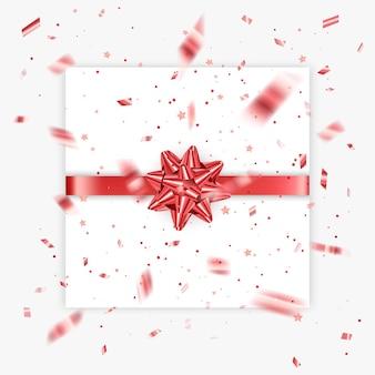 Подарочный лук реалистичные векторные иллюстрации белый фон красная лента настоящее украшение коробки
