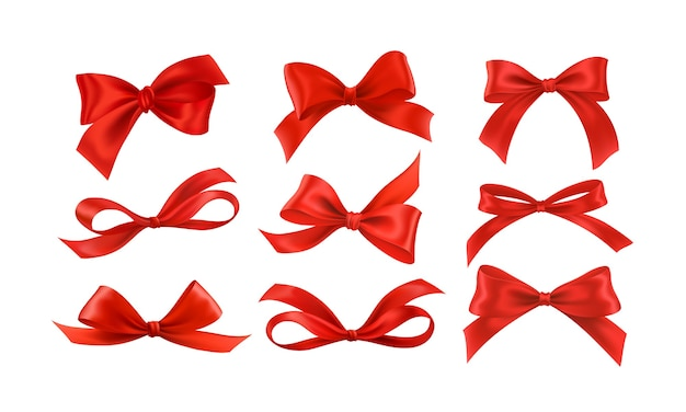 Gift bows silk red ribbon with decorative bow. realistic luxury festive satin tape for decor