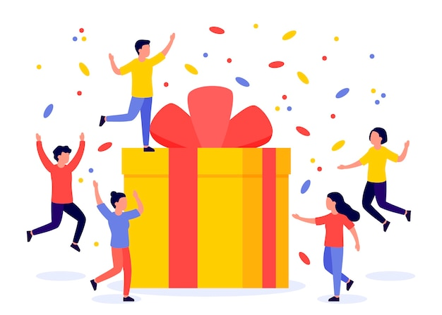 Подарочная коробка и группа счастливых людей. награда, приз, раздача, бонус. реферальная программа. плоская иллюстрация