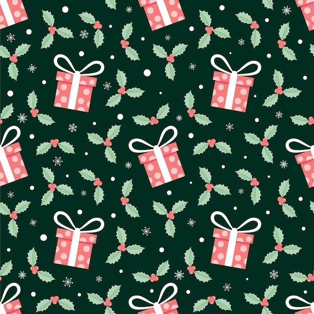 ギフトボックスと赤いクリスマスの花のシームレスなパターン、休日の背景