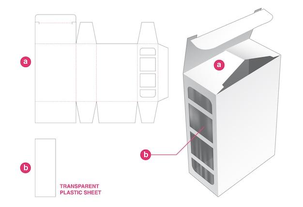 透明なプラスチックシートダイカットテンプレート付きギフトボックスとサイドウィンドウ
