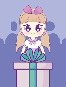 Gift box and anime girl icon
