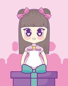 Gift box and anime girl icon