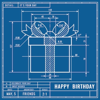 技術的な青写真の図面としてのギフトボックス。誕生日の技術的概念機械工学図面
