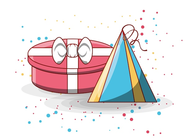 Gift box and birthday hat icon