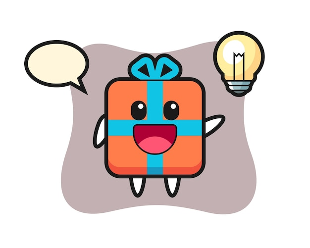 아이디어를 얻는 선물 상자 캐릭터 만화
